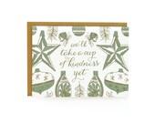 Green Vintage Ornaments - Letterpress Christmas Cards - set of 8
