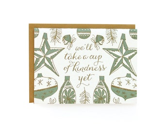 Green Vintage Ornaments - Letterpress Christmas Cards - set of 8