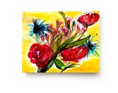 Abstract Floral Canvas Print - Large Wall Art - Bright Home Decor - Red Yellow Flowers - Watercolor - Still Life Art Painting - Living Room