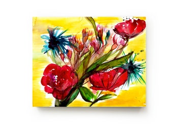 35% Off SALE - Abstract Floral Canvas Print - Large Wall Art - Bright Home Decor - Red Yellow Flowers - Watercolor - Still Life Art Painting