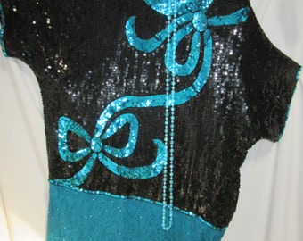 1920's flapper dress womens size 10 Halloween costume Gatsby  beaded sequins black turquoise
