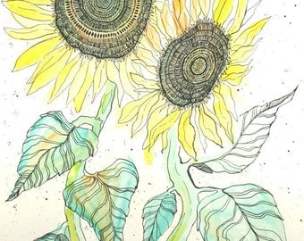 Two Sunflowers . Multi Media Art . Watercolor Painting . India Ink Drawing . Flower Art