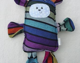 Ozzy Bear -  Girasol Zenith Cuervo Wrap Scrap Bear Pillow Plush - Hand Drawn Face