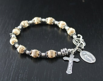 Sterling Silver and 14KT Gold Fill Rosary Bracelet