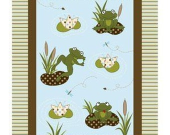 Nursery Daisy Kingdom 3-D Applique Frogs Sitting On Polka Dot Lily Pads Fabric Panel