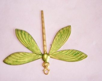Dragonfly Animal Vintage  Jewelry Brooch Green Tone