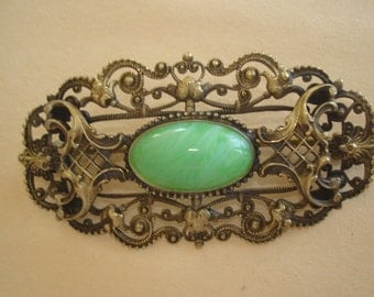 Green Stone Brooch Gold Tone Repousse