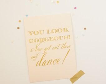 Wedding Bathroom Sign Blush Gold You Look Great Wedding Decor 5x7