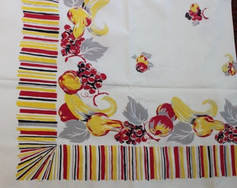 Tablecloth Printed Fruit Squash Retro Mid Century VINTAGE by Plantdreaming