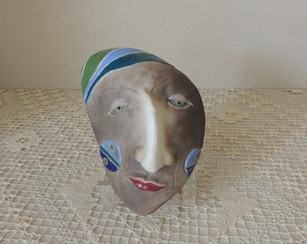 Unusual Female Fantasy Surrealist Ceramic Face Sculpture. Surreal Woman's Clay Face Rattle. Fantasy Clay Face Rattle with Stand