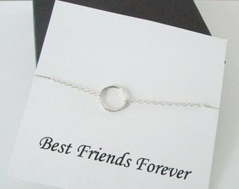 Infinity Twiggy Circle Silver Necklace ~~Personalized Jewelry Gift Card for Friend, Best Friend, Sister, Bridal Party