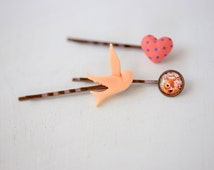 a set of 3 hair pins. bambi bobby pins. hair clips. spring inspired hair pins. bird hair pins. Heart hair pin. heart hair clip. bambi pin.