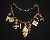 BIG Vintage Heavy Gold Tone Elephant Mask Arrowhead Shield Charmed Bib Choker Necklace