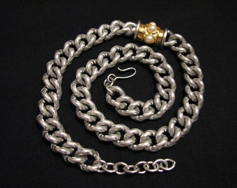 GIANT Vintage Monet HEAVY Gold and Silver Plated White Faux Glass Pearl Etched Curb Chain Link Necklace
