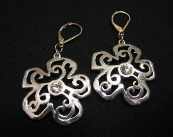 Vintage Silver Tone and Diamond Rhinestone Filigree Scrolled Flower Dangle Pierced Earrings