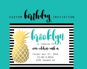 Pineapple Party Invitation, Custom  Tropical Birthday Party, Pineapple 5x7 Birthday Invitations, Woman Birthday Invite