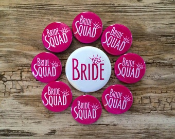 Bride Squad Pins, Bachelorette Party, Hen Night Badges, Bride Button, Hot Pink, Last Fling, Bright White, Classy Bridal Shower, Magnet Back