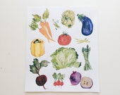 Colorful Vegetables - Watercolor Illustration Print  - 8 x 10