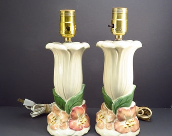 Pair Hibiscus Flower Ceramic Dresser Lamps Shabby Chic Vintage 1950s Bedroom Decor Mid Century Floral Lamps