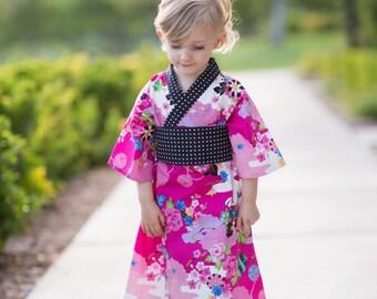 Kimono Dress in FUCHSIA ASIAN Floral Yukata Modern Kimono Girls Baby Toddler Japanese