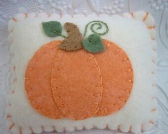 Pumpkin Pincushion Wool Felt Primitive Applique Felted Penny Rug