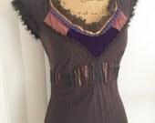 Sale Designer Alert -- Retro Etro Milan Embellished Tshirt with original tags and fur trim