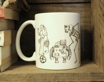 Robots Mug with three Steampunk style robots | Industrial | Scifi | Mechanic | Inksketch