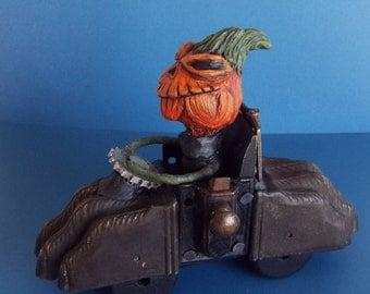 Halloween Pumpkin Doll and Mixed Media Car Zoom Zoom Handmade One of a kind OOAK Folk Art Doll Halloween Decor