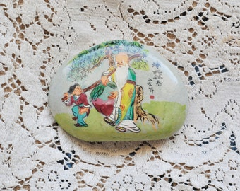 Vintage Hand Painted Rock Colorful Medication Stone Asian Art Scene Asian Writing Buddha Holding Large Plum with Child Paper Weight Rock Art