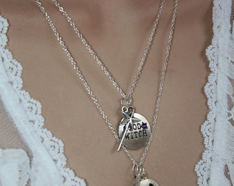 Witch Necklace Silver Plated Fall Jewelry Halloween Jewelry Silver Witch Necklace Witch Pendant