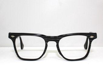 MENS Vintage Wayfarer style Grey and Black Woodgrain Eyeglasses 1950's 60's/Made in France/ Doctor brand//rh2100