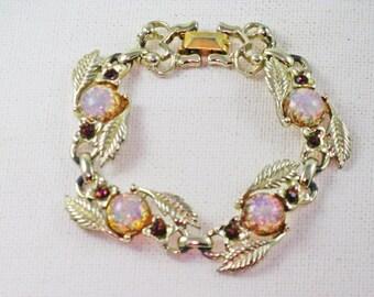 Vintage Gold Tone Opalite and Amethyst Rhinestone Leaf Link Bracelet (BR-2-2)