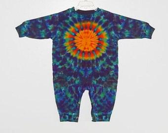 Baby TIE DYE Romper Sun Rainbow Tye Dye Long Sleeve Outfit infant sizes 6 12 18 24 months Grateful Dead