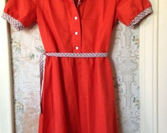 Girls burnt orange vintage dress 8-10 years