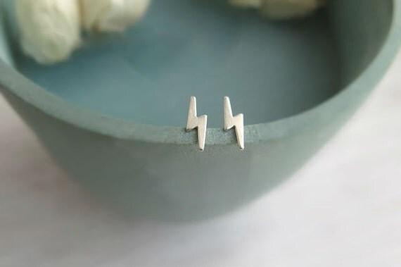 Lightning bolt post earrings, small sterling silver studs