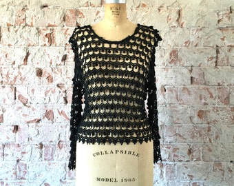 Black Cut-Out Lace Top 1970s Boho Gypsy Blouse Sweater S/M