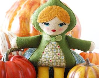 PDF Pattern - Quinn Doll Pattern, Felt Softie Pattern, Doll Sewing Pattern, Doll Embroidery Pattern