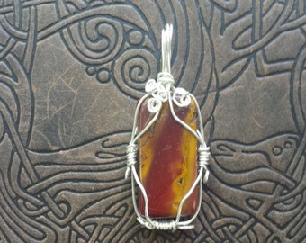 Wire Wrapped Mookaite Pendant