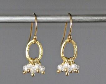 Cubic Zirconia Earrings - Gold Chandelier Earrings - Gold Wire Wrapped Earrings - Matte Gold Earrings - Zircon Earrings - Gift for Her
