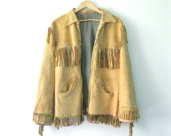 Vintage 60s buck skin leather fringe jacket / Journey Wanderlust jacket / Hippie Bohemian Gypsy traveler fringe leather jacket