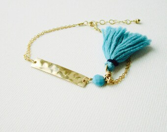 Turquoise Bar Bracelet, Natural Blue Turquoise, Gem Bracelet, Hammered Gold Bar, Friendship Bracelet, December Birthstone, Boho Bracelet