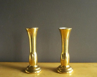 Gorgeous Gold Pair -  Set of Two Gold Vases - Vintage Bud Vases with # 320 - Unique Shape