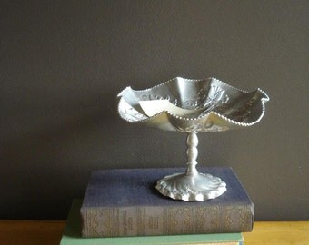 Vintage Silver Pedestal Bowl VII - Vintage Compote Bowl or Candy Dish - Hammered Aluminum Tray