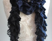 AW15 - patchwork petal SCARF by FAIRYTALE13 - navy blue, black & lace.