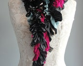 SALE - patchwork petal SCARF by FAIRYTALE13 - greys, black, cerise pink & green.