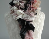 SALE - girls MINI Patchwork PETAL textured scarf by Fairytale13 - antique pink, cream, taupe and grey - Handmade in the Uk.