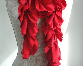 SALE - XXL PETAL structured Scarf by FAIRYTALE13 - lipstick red - Handmade in the Uk.