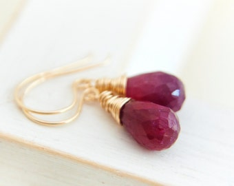Ruby Earrings-Gold fill dangles-July birthstone jewelry-Wire wrapped Ruby