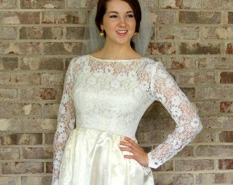 1950s wedding dress, ivory satin wedding gown, lace wedding dress, lace illusion, size S