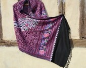 "Gorgeous Embroidered Pashmina. Luxurious pashmina wool shawl/stole. 74 x 28"". Kashmir. 188 x 71 cm"